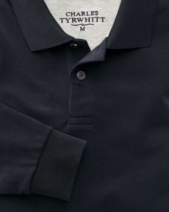 Navy pique long sleeve polo