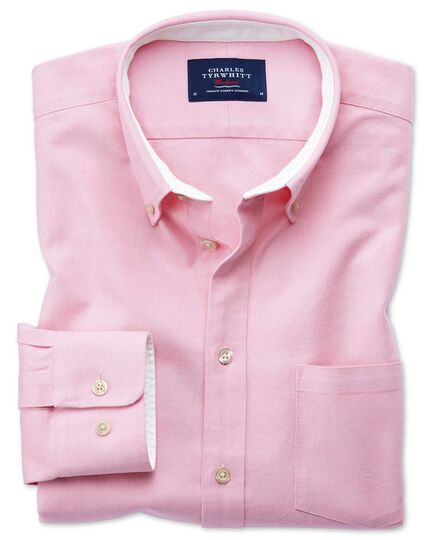 Extra slim fit button-down washed Oxford plain light pink shirt