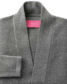Grey textured long line cardigan