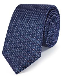 Slim royal and pink silk neat pattern classic tie