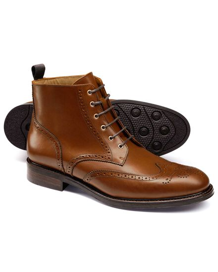 Tan Woodford wing tip brogue boots