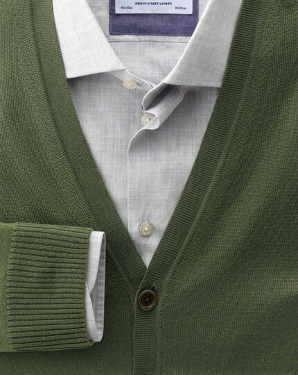 Olive merino wool cardigan