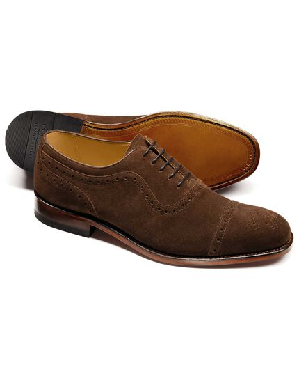 Brown Parker suede toe cap brogue Oxford shoes