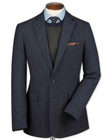 Slim fit airforce blue herringbone cotton flannel jacket