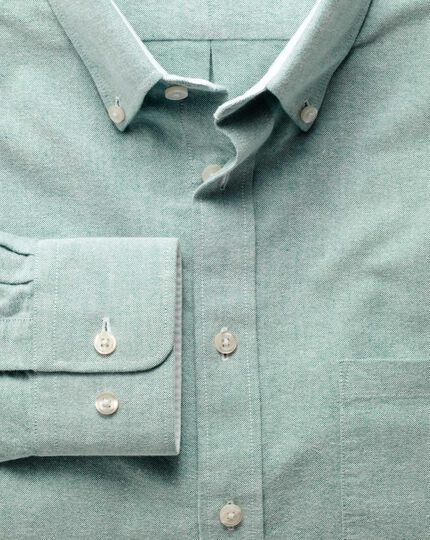 Slim fit green washed Oxford shirt