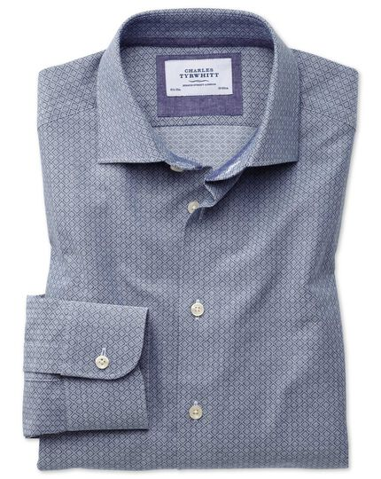 Classic fit semi-cutaway business casual diamond texture navy and grey shirt