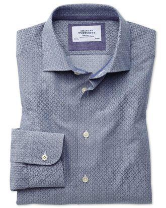 Slim fit semi-cutaway business casual diamond texture navy and grey shirt