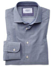 Chemise business casual bleu marine et grise extra slim fit avec textures en losanges
