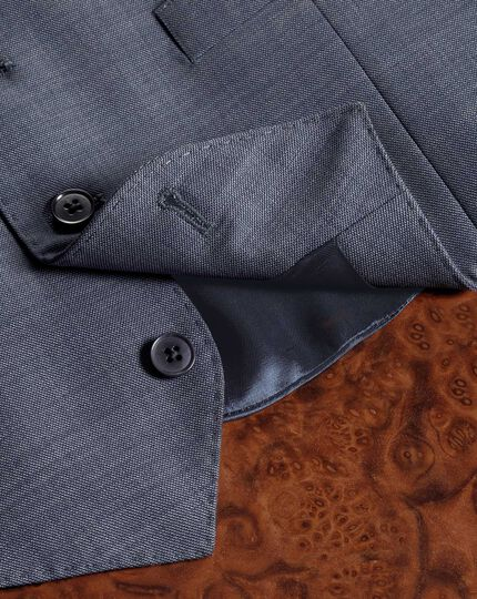 Light blue sharkskin travel suit waistcoat