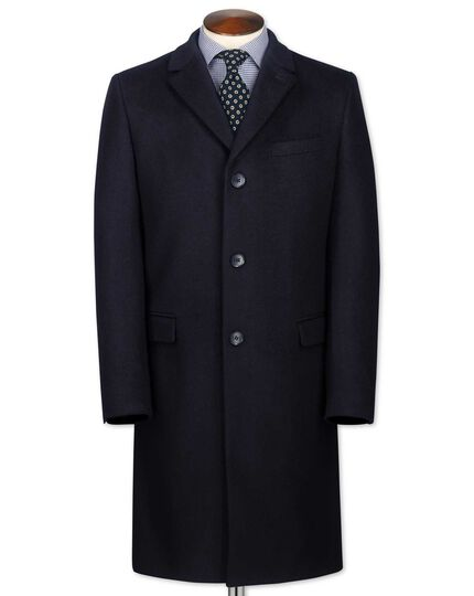 Classic fit navy wool and cashmere overcoat