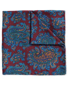 Burgundy and blue luxury English paisley pocket square