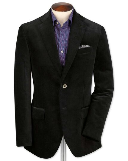 Slim fit black velvet jacket