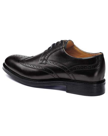 Black Halton wing tip brogue Derby shoes