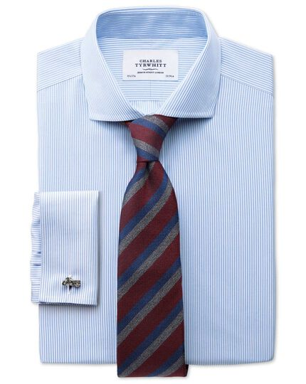 Burgundy and navy wool mix stripe classic tie
