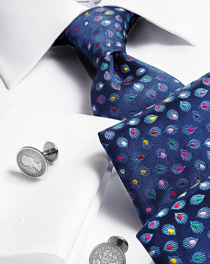 Navy silk luxury multi spot floral tie