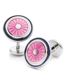 Pink enamel circle cuff links