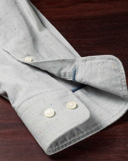 Slim fit modern Oxford grey fleck shirt