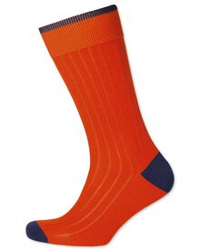 Orange ribbed cotton rich socks