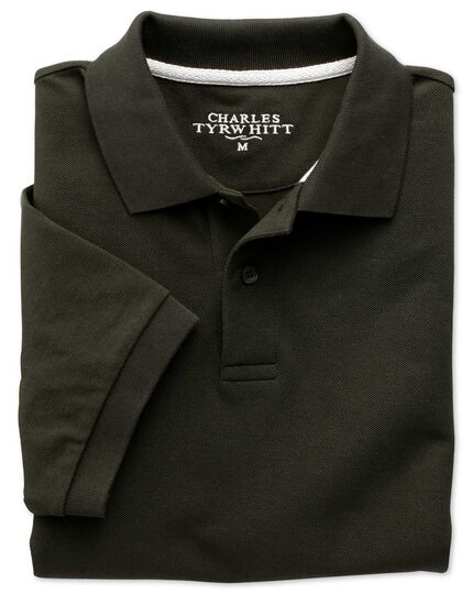 Dark green pique polo