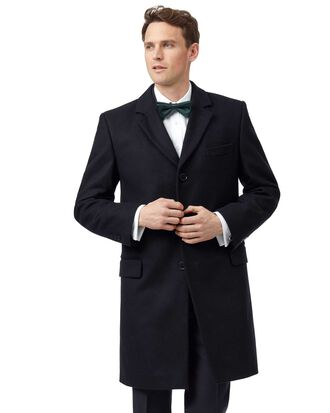 Navy wool and cashmere overcoat