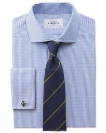 Slim fit spread collar Egyptian cotton textured stripe royal blue shirt