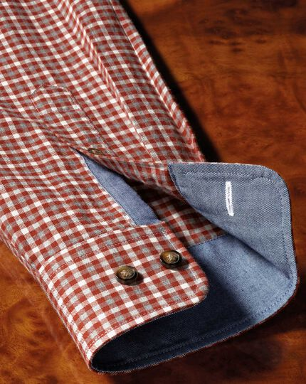 Classic fit button-down soft cotton rust multi check shirt