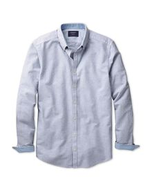 Classic fit washed Oxford bengal stripe navy shirt