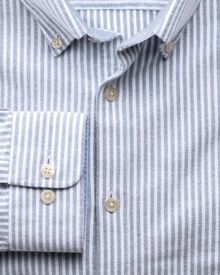 Slim fit navy bengal stripe washed Oxford shirt