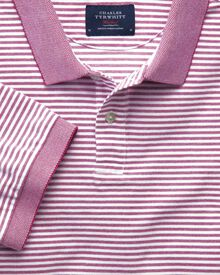 Berry and white stripe Oxford polo