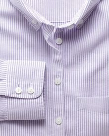 Women's semi-fitted cotton Oxford striped lilac shirt