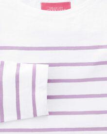 Jersey Top mit U-Boot-Kragen in weiß und lila mit Breton-Streifen