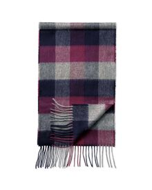 Navy block check cashmere and merino scarf