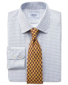 Classic fit non-iron windowpane check indigo shirt