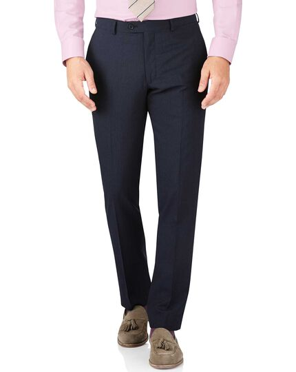 Navy stripe slim fit summer business suit trouser