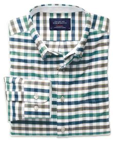 Slim fit green and blue check washed Oxford shirt