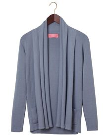 Women's blue cotton cashmere waterfall cardigan