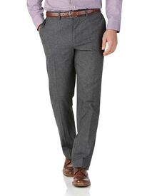 Charcoal slim fit cotton flannel puppytooth trousers