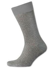 Grey and burgundy micro dash socks