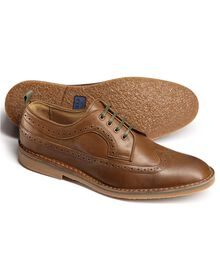 Tan Ledbury wing tip derby shoes