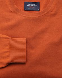 Orange merino crew neck jumper