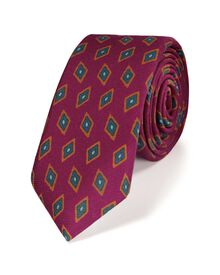 Pink luxury wool diamond print slim tie
