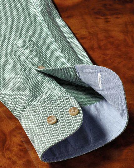 Slim Fit Hemd in gewaschenem Mittelgrün mit Struktur