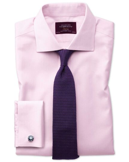 Slim fit semi-cutaway collar luxury stripe pink shirt