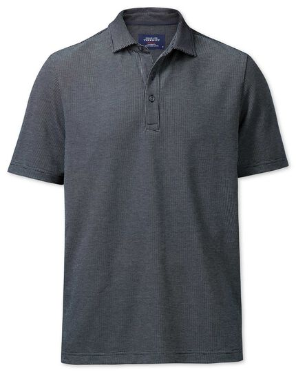 Classic fit navy and white birdseye polo