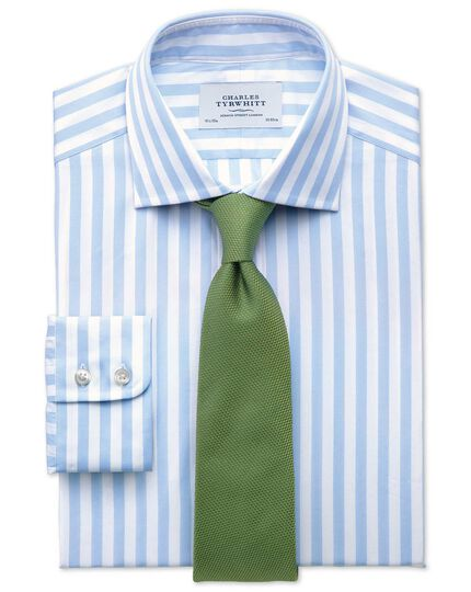 Slim fit semi-cutaway collar Egyptian cotton stripe sky blue shirt