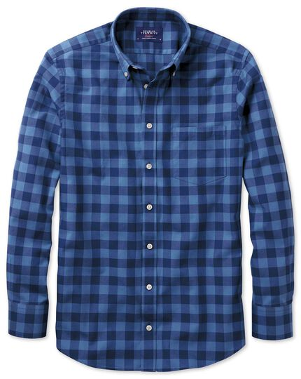 Extra Slim Fit Oxfordhemd in Blau mit Karos