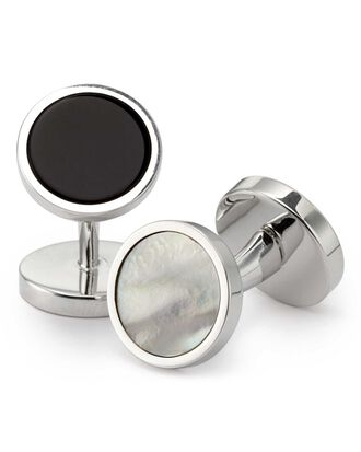 Mother-of-pearl and onyx evening cuff links