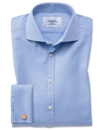 Extra slim fit cutaway collar Egyptian cotton cavalry twill blue shirt