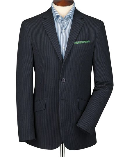 Navy and black slim fit stripe seersucker jacket