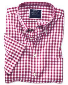 Bügelfreies Slim Fit Kurzarmhemd aus Popeline in himbeerrot mit Gingham-Karos